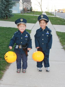 This Fall Michael and Alex got to watch has Dad was issued a speeding ticket.  Dad used this as a teachable moment about what happens when you do something wrong.  The consequence has been an even constant reminder from them about not speeding. The benefit was two very cute police officers for halloween.