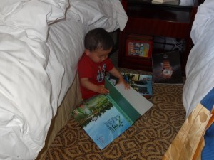 Max did a little early morning reading before heading to breakfast.