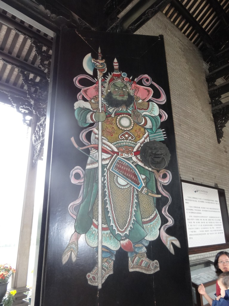 The largest door in the Guangdong Province. There is another guard depicted on the door.