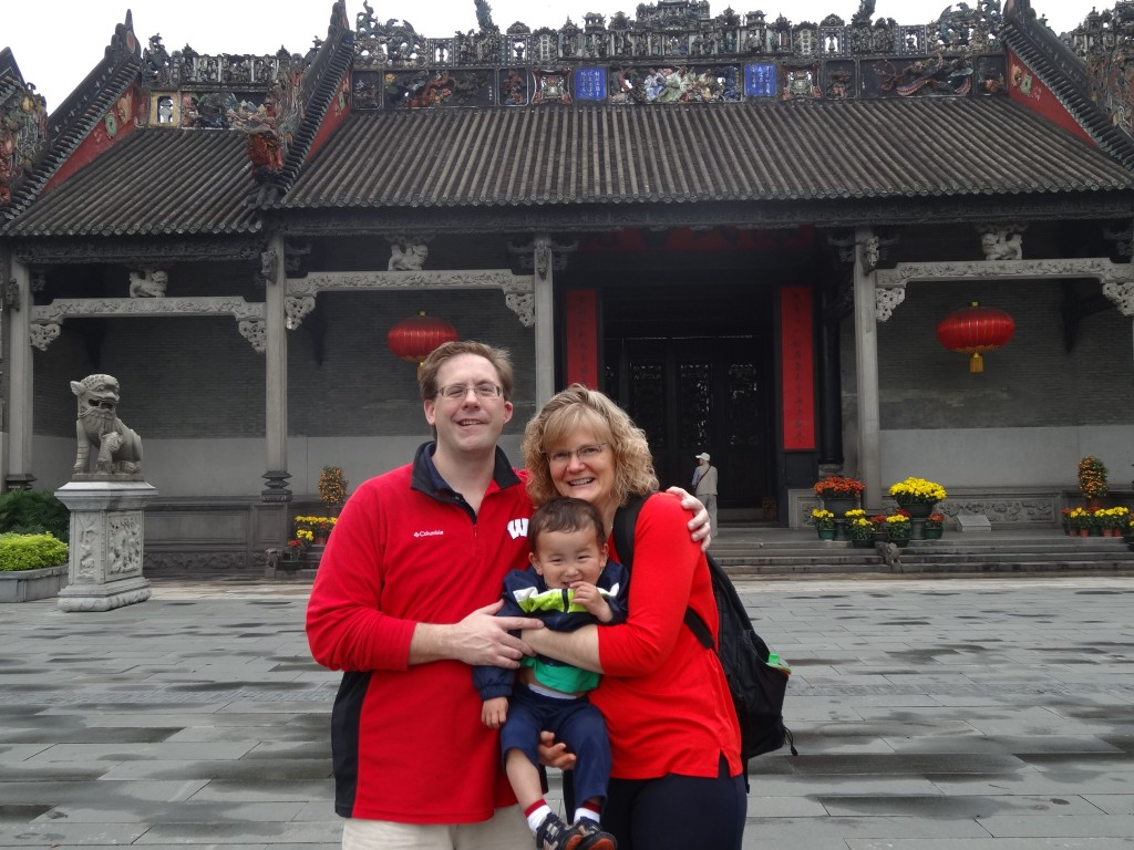 Three (of the) five Wahe's posing infront of the Chen Family Temple in Guanzghou, China.